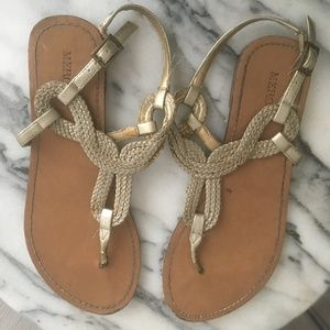 Used gold and white sandals -bundle of 2!